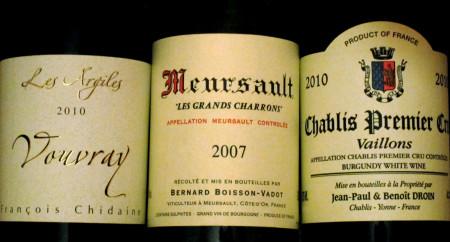 Vouvray, Meursault, Chablis